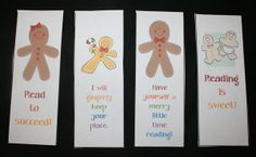 Gingerbread activities: FREE printables: Gingerbread Bookmarks