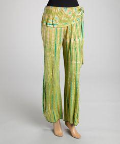 Look at this #zulilyfind! Lime Green Tie-Dye Pants #zulilyfinds