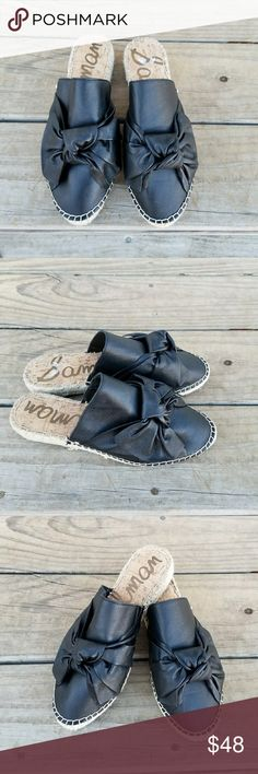 SAM EDELMAN LYNDA BOW ESPADRILLES •Leather Upper •Synthetic Lining & Sole •Color: Black •Slip On Style  •Moc Toe  •Brand New W/O Tags Sam Edelman Shoes Espadrilles