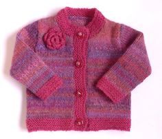 Hand knitted baby girl multicolor cardigan :fuchsia, purple, pink, violet, lilac,african violet, amethyst, lavender, nectarine.. $44.00, via Etsy.