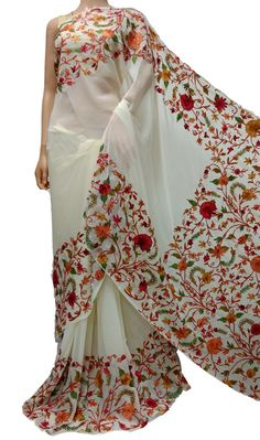 Buy Off White Kashmiri Aari Work Georgette Saree-data/Kashmiri White_Kashmiri_Needle_Work_Georgette_Saree. Indian Attire, Indian Outfits, Indian Clothes, Beautiful Saree, Beautiful Dresses, Embroidery Saree, Embroidery Works, Hand Embroidery, Stylish Sarees