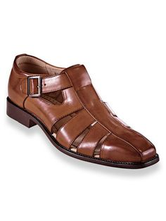 Stacy Adams® Leather Fisherman Sandals - The popular warm-weather style, elevated to a dressier status with polished sophistication and protective toe coverage. Functional buckle has a Casual Leather Shoes, Leather Sandals, Leather Men, Casual Shoes, Mens Dress Sandals, Dress Shoes, Men Sandals, African Men Fashion, Mens Fashion
