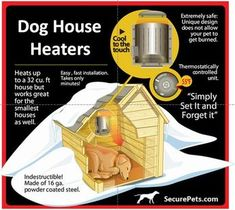 An outdoor dog/cat house heater. Dog House Heater, Heated Dog Bed, Outside Dogs, Cool Dog Houses, Pet Houses, House Fan, Outdoor Dog, Outdoor Heated Dog House, Heated Cat House
