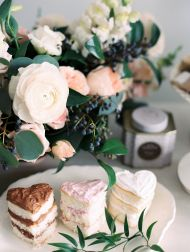 Tea party inspiration for girlfriends on Valentine's Day complete with pastries, champagne and an amazing flower wall.