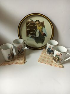 Vintage coffee mugs,Norman Rockwell 1976 FIRST LIMITED EDITION Postal Collectors Tray and mugs,  1982 Rockwell collection coffee Cups , by KyriesTreasureChest on Etsy
