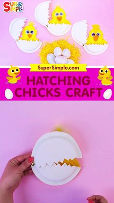 This adorable Easter Chick Craft is perfect for Easter, spring and farm animal themes. It's easy to make and fun to play with after. We hope you enjoy making a Hatching Chick Craft with your family or students to celebrate the season. Tweet! Farm Theme Crafts, Preschool Farm Crafts, Farm Animal Crafts, Preschool Art Activities, Animal Crafts For Kids, Toddler Crafts, Summer Camp Crafts, Spring Crafts For Kids, Camping Crafts