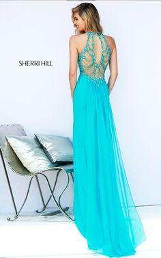 Aqua Sherri Hill 32043 Beaded Back Prom Dress