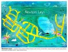 Almost like coral reef or some tropical lagoon. Illustration of Newton Leys (Milton Keynes, UK) by popular art-creative, Robert Rusin | www.mkfive.co.uk