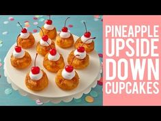 Enjoy a taste of island living with these Coconut Pineapple Upside Down Cupcakes. Flavored with coconut rum, brown sugar and fresh pineapple juice. Pineapple Upside Down Cupcakes, Pineapple Cake, Pineapple Juice, Cupcake Recipes, Baking Recipes, Dessert Recipes, Mini Cakes, Cupcake Cakes, Cup Cakes