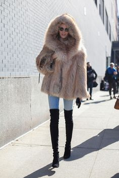Daria Strokous street style, model off duty, fashion week, over the knee boots, fur coat, winter, outerwear