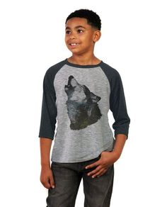 Howling Wolf Youth Vintage Baseball T Shirt