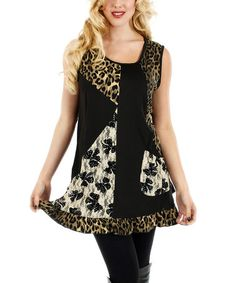 Look what I found on #zulily! Black Leopard & Bow Sleeveless Tunic by Lily #zulilyfinds