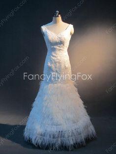 V-Neckline Sleeveless Full Length Trumpet/Mermaid Wedding Dresses With Feather at fancyflyingfox.com