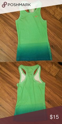 Very pretty ombre blend of green and blue In great shape this large tank  runs more small/ med Nike Tops Tank Tops