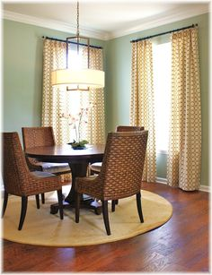 Sherwin Williams Contented for dining room Dining Room Chairs, Table And Chairs, Dining Area, Bedroom Sitting Room, Rugs In Living Room, House Colors, New Homes, House Design, Interior Design