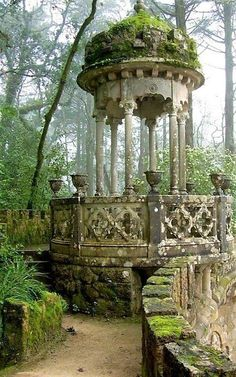 Gazebo in the Garden Pavilion in Quinta da Regaleira Palace, in romantic Sintra, Portugal Abandoned Buildings, Abandoned Places, Abandoned Mansions, Abandoned Castles, Abandoned Library, Garden Pavilion, Garden Gazebo, Palace Garden, Moss Garden