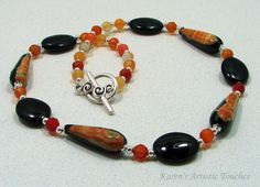 Karen's Artistic Touches Store - Black Orange Agate Teardrop Gemstone Beaded Necklace, $39.99 (http://www.karensartistictouches.com/black-orange-agate-teardrop-gemstone-beaded-necklace/)