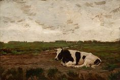 Cow Resting in Meadow Oil Painting By George Glenn Newell | Florence Griswold Museum