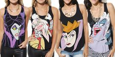 Geek Fashion: Disney Villianness Tanks I want Ursula! Disney Shirts, Disney Outfits, Disney Clothes, Nerd Fashion, Disney Fashion, Fashion Women, Cool Style, My Style, The Villain