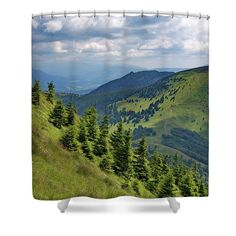 Scenery grom green summer mountains printed on shower curtain. Green Shower Curtains, Camera Art, Shower Curtain Rings, Curtains For Sale, Travel Photographer, Basic Colors, Art Market, Gifts For Girls, Customized Gifts