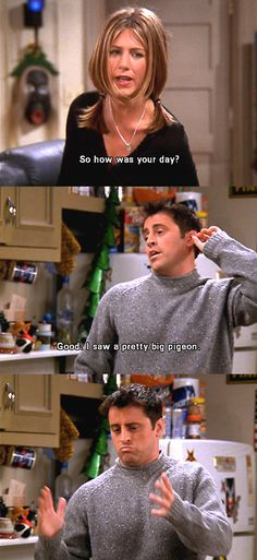 "Rachel: ""So how was your day?"" Joey: ""Good. I saw a pretty big pigeon."""
