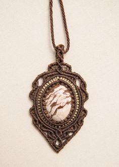 Macrame necklace with Cebra Jasper natural stone by Amonithe