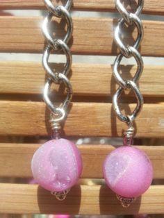 Eliana Chain link Pink  Druzy Quartz  by PoppinJamesStudio on Etsy, $18.00