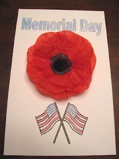 Learning Adventures At Home: Memorial Day Poppies Holiday Crafts For Kids, Crafts To Make, Holiday Fun, Christmas Crafts, Memorial Day Poppies, Memorial Day Activities, Poppy Craft, Tissue Paper Crafts, Black Construction Paper
