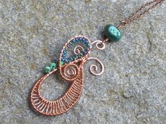 Copper swirl necklace  wire wrapping and wire weaving with turquoise gems, seed beads, and freshwater pearl