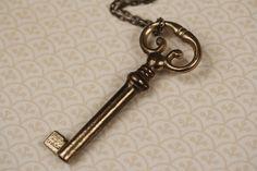 Fancy Skeleton Key Necklace, a Long Ornate Pendant, Vintage Art Nouveau Jewelery, posted by FreshyFig via Etsy.com.