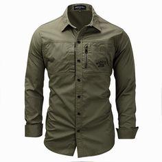 e214e310d02 Outdoor Military Style Chest Zipper Pocket Long Sleeve Lapel Cotton Work  Shirt for Men
