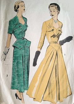 Late 40s Dramatic Evening Dress Pattern Advance 5333 Eye Catching Design Flowing Front Panels Unique Flattering Neckline Bust 42 Vintage Sewing Pattern