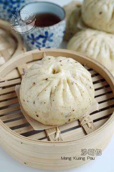 A taste of memories -- Echo's Kitchen: Mang Kuang Pau (Steamed Bun) 沙葛包 Pumpkin Buns Recipe, Asian Buns, Bao Buns, Thai Dessert, Steamed Buns, Bread Bun, Malaysian Food, Pork Recipes, Bread Recipes
