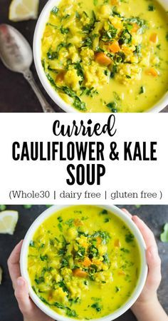 Ready in 30 minutes, the curried cauliflower and kale soup is super easy to throw together and hearty enough to take the chill off of a cold winter day. Whole30. Paleo, Gluten free, Dairy free. Vegan.