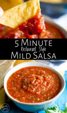 restaurant style mild salsa recipe takes under 5 minutes to make and is a great healthy fresh homemade appetizer perfect for game day! It can be made all year round as it uses canned tomatoes! With cilantro, lime juice, onion and a few spices you can have Canned Salsa Recipes, Fresh Tomato Recipes, Fresh Tomato Salsa, Canning Recipes, Soup Recipes, Salsa From Canned Tomatoes, Recipe With Tomatoes, Plum Tomatoes, Salad Recipes