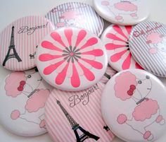 Paris Poodle Party Favors - Pocket Mirrors by StuckTogether Magnets, $35.00