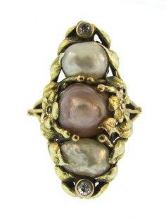 Art Nouveau Pearl and Diamond Ring. Love the subtle coloring of these pearls.