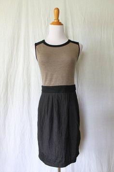 THEME Anthropologie Beige and Black Sporty Sleeveless Casual Sheath Dress S NEW #Theme #Sheath #Casual