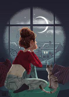 Фото Девушка с кошкой смотрят на ночное небо