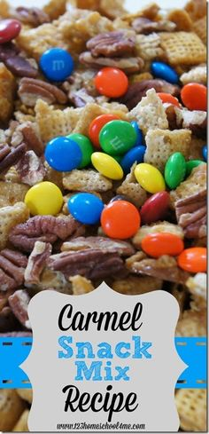 Carmel Snack mix Recipe - This is such a YUMMY recipes for a sweet Caramel chex mix. Love the flavors!