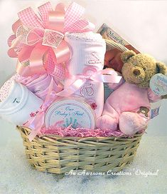 A gift basket for a baby girl.. looks so cute with all that pink :)