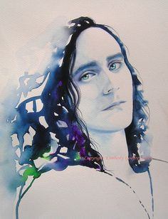 "Loki Tom Hiddleston Art Print of Original Watercolor Painting Portrait Pop Art Indigo Green 12 x 16"" inches A3"