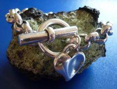 pulsera rolo corazon  cadena de zamak artesanal