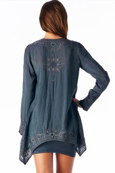 Embroidered  Charcoal Blue Top