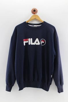 65badbb00e3 FILA Crewneck Sweater Men Large Fila Italia Pullover Sweatshirt Fila Big  Logo Streetwear Dark Blue J