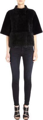 $1,975, Black Fur Jacket: Barneys New York Short Sleeve Shearling Jacket. Sold by Barneys New York. Click for more info: https://lookastic.com/women/shop_items/278489/redirect