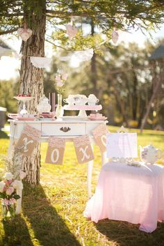 Beautiful set up at a Valentine's Day tea party! See more party planning ideas at CatchMyParty.com!