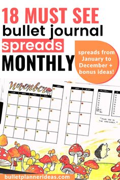 Here are 18 Monthly Bullet Journal Spreads that you NEED to see! I got you covered from January to December in this awesome list with a few bonus spreads that you could use at any time of the year! Check these out, Bookmark the page and let me know what you think of them! Monthly Bullet Journal Layout, Bullet Journal Mood Tracker Ideas, December Bullet Journal, Bullet Journal Travel, Bullet Journal Quotes, Bullet Journal How To Start A, Bullet Journal Spread, Bullet Journals, Journal Covers