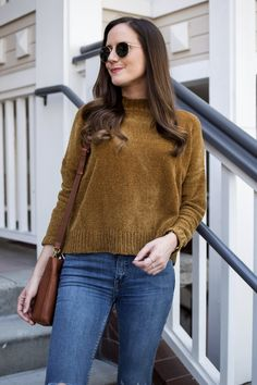 Chenille Sweater | Fall Style | Brown Sweater Outfit | Casual Fall Style | Sweater Weather | Nude Flats for Fall