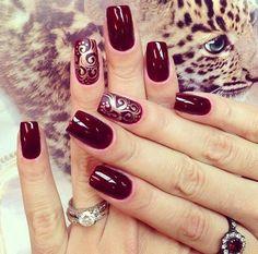 Акцент на безымянном пальце, Бордовый маникюр, Вечерний дизайн ногтей, Вечерний маникюр шеллаком, Дизайн бордовых ногтей, Дизайн ногтей с узором, Идеальный маникюр, Идеи новогоднего маникюра 2017
